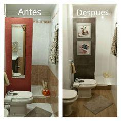 El antes y despues del ba o ppal con suelo de vinilo en - Pintar azulejos bano antes y despues ...