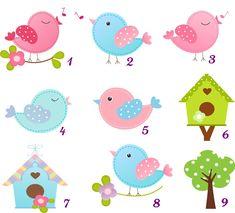 Apliques Passarinho no Elo7 | Jujubinha (9F57DB) Felt Crafts, Diy And Crafts, Bird Template, Butterfly Clip Art, Bird Party, School Decorations, Hand Art, Little Birds, Creations