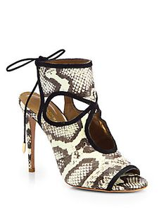 Aquazzura Sexy Thing Snakeskin Cutout Sandals great shoe for day or night. Pair it with jeans or a little black dress!