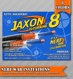 Nerf Party Invitations, Nerf Wars Invitations, Invitations, Nerf Invitations, Nerf Invitation, Nerf Birthday Party, Camo Invitation, Nerf