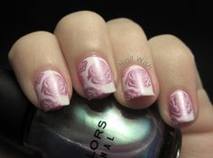 Nail Wish: Valentine NAC #1: Pink or Red.  Bundle Monster stamping plate / rose nail art