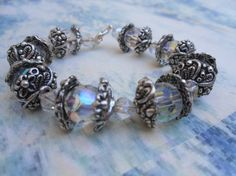 Slippery Ice Crystal and Tibet Silver Bracelet by FizbanFunDesigns, $38.00