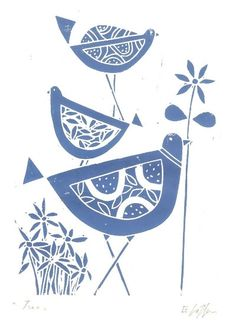 Blue Bird Print Original Linocut - Blue Flowers, Retro Lino Block Print - Bluebirds., via Etsy.
