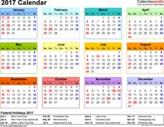 template 8 2017 calendar for word year at a glance 1 page