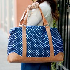 Excited to share this item from my shop: Navy Dots Weekender - Women's Travel Tote - Monogram Women's Tote - Womens Large Bag - Personalized Weekender - Bridal Gift - Christmas Gift Monogram Boots, Free Monogram, Travel Bags For Women, Large Shoulder Bags, Shoulder Strap, Purses And Bags, Weekender, Duffel Bag, Tote Bags