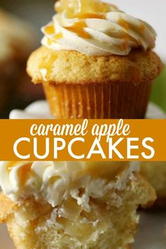 Caramel Apple Cupcakes - Every bite is sweeter than the next! This cupcake recipe will soon become a favourite treat. Best Dessert Recipes, Apple Recipes, Cupcake Recipes, Baking Recipes, Delicious Desserts, Baking Desserts, Mini Desserts, Fall Desserts, Just Desserts