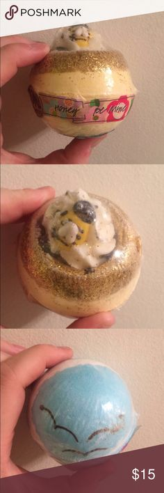 """I'm selling two super cute never opened bath bombs. One is yellow, has glitter around the top as well as a cute bumble bee. The scent is """"honey bee mine"""". The second is blue, with little flying birds on the top. The scent is """"azure skies"""". Still wrapped in their plastic. Other"""