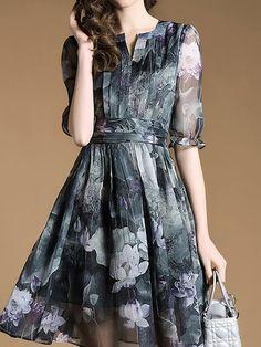 Multicolor Half Sleeve Crew Neck Floral-print Floral Midi Dress