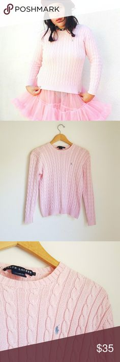 """Vintage 80's pastel baby pink chunky pullover Vintage 80's baby pink Ralph Lauren made in Hong Kong cotton pullover. Size small.  Features soft fabric, 100% cotton, in a beautiful pale pink shade. It has RL logo contrasting in baby blue... so adorbs 😍   Measurements flat:  Length: 21"""" Armpit to armpit: 17"""" Sleeves: 21""""  ● 20% off on bundles   Vintage 80s eighties 90s nineties pastels soft powder pink pullover sweater top candy colors thick grunge kawaii pastel goth urban street wear free…"""