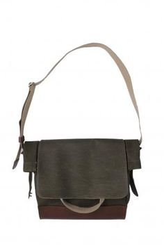 Brooks England LTD. - Bag - casual bag wearing by hand or over the shoulder with two handles and one adjustable shoulder strap, an exterior pocket, an internal mobile phone pocket and a zippered pocket, the bag is in canvas in military green color with leather reinforcement on the bottom, handles and shoulder running, locking with magnet + two press buttons. Collection Brooks England LTD. Autumn Winter 2012 2013. Brooks England, Fall Winter, Autumn, Casual Bags, Military Green, Green Colors, Messenger Bag, Shoulder Strap, Satchel