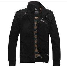 Mandarin-Collar Casual Zipper-Front Cotton Lined Men's Jacket M-2XL 4 Colors