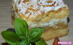 Przepis na tradycyjny jabłecznik na kruchym cieście, z kokosową pianką i kruszonką. Łatwe i delikatne ciasto z jabłkami Different Cakes, Cheesecakes, Kale, French Toast, Food And Drink, Pudding, Breakfast, Ethnic Recipes, Happy Life