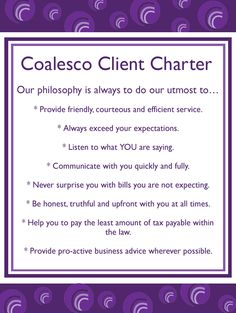 Coalesco Client Charter - our promise to our clients