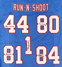 Houston Oilers Run   Shoot Autographed Jersey With 5 Signatures Including Warren  Moon