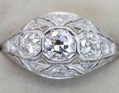 Edwardian diamond ring I love the filigree work #diamondring #ring #rotd #diamondrings #clusterring #weldons www.weldons.ie #antiquesireland #vintage #vintagejewellery #jewellery #antiquejewellery #antiquejewelry via: #probeatz