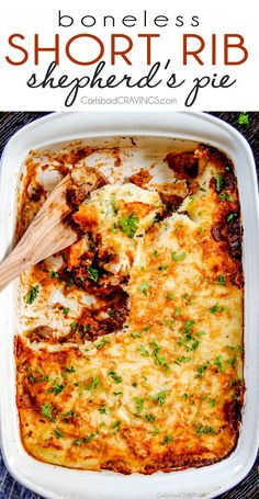 Savory, comforting Boneless Short Rib Shepherd's Pie with melt in your mouth short ribs and Swiss Gruyere mashed potatoes!