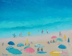 Beach Decor umbrellas and people beach painting by JanMatsonArt, $100.00