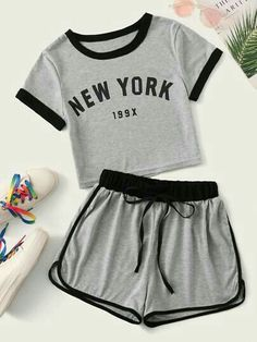 Letter Print Contrast Binding Tee With Track Shorts Source by ohirthestanton tween outfits for summer Girls Fashion Clothes, Teen Fashion Outfits, Swag Outfits, Outfits For Teens, Tween Fashion, Lolita Fashion, Matching Outfits, Emo Fashion, Gothic Fashion