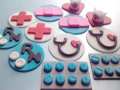 Nurse - Pick Your Pieces, Cupcake or Cookie Topper, Edible Fondant with Matching Liners. $15.00, via Etsy.