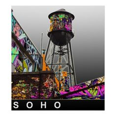 A water tower photographed in New York City, covered in graffiti. New York Graffiti, Street Art Graffiti, Graffiti Prints, Graffiti Lettering, Nyc Water, Sidewalk Chalk Art, World Water, Water Tower, Custom Posters