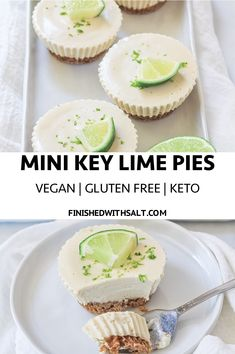 Mini Key Lime Pies - Who doesn't love a cute and dare I say, healthy dessert! Vegan, gluten free, refined sugar free and keto! Oh and did I mention they are also incredible EASY! Mini Key Lime Pies {Vegan + G Low Carb Desserts, Healthy Dessert Recipes, Gourmet Recipes, Lime Recipes Healthy, Lime Recipes Paleo, Healthy Baking, Gluten And Dairy Free Desserts Easy, Delicious Desserts, Gluten Free Cheesecake