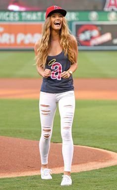 What to Wear to a Baseball Game | Who What Wear Baseball Jersey Outfit, Baseball Game Outfits, Baseball Games, Baseball Hat, Baseball Game Fashion, Baseball Field, Acc Basketball, Baseball Playoffs, Fashion Clothes