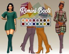 Rimini Thigh High Boots These are probably my favorite pair of heeled boots for my game.they aren't too alpha so I feel with my recolors, I can pull off the maxis match style a little better. Sims 4 Cc Eyes, Sims 4 Mm Cc, Sims Four, Maxis, Sims 4 Gameplay, Sims4 Clothes, Sims 4 Cc Packs, Play Sims, Sims Games