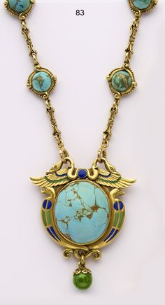 Turquoise Soul  . . .                   Marcus & Co. Turquoise, enamel and carved gold Egyptian-revival necklace. (Art Nouveau) 1920