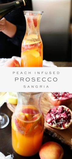 This Prosecco sangria makes a great signature drink for brunches, parties and holidays. Easy to make with just four ingredients, this make ahead cocktail is sure to wow your guests! Mixed Drinks Alcohol, Alcohol Drink Recipes, Sangria Recipes, Cocktail Recipes, Margarita Recipes, Dinner Recipes, Summer Drinks, Fun Drinks, Beverages