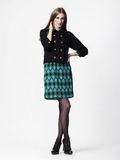 Colleen Jacket in Black Wool + Therese Dress in Emerald Marquee Print Silk by LEONA