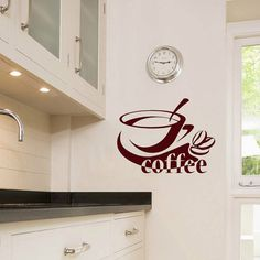 Cup of Coffee Word Housewares Wall Vinyl Decal Art Murals Design Interior Cafe Dining Room Kitchen Coffee Shop Decor Sticker SV3981
