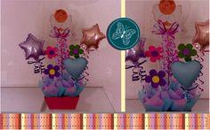 Arreglos de globos con madera country, una buena combinación como centro de mesa o regalo de bienvenida al bebé