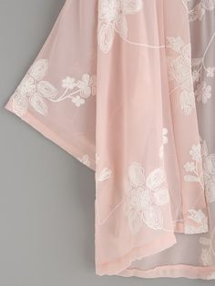 Pink Flower Embroidered Kimono -SheIn(Sheinside)
