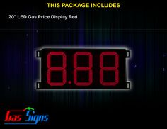 20 Inch 8.88 LED Gas Price Display Red with housing dimension H590mm x W1110mm x D55mmand format 8.88 comes with complete set of Control Box, Power Cable, Signal Cable & 2 RF Remote Controls (Free remote controls).