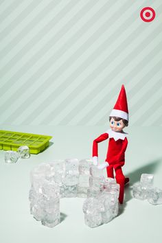 Just Chillin' When it's time for a little mid-winter mischief, it's time to take a look in the freezer. Why? Well, Elf On The Shelf has been constructing a quick ice-cube igloo out of just 2 trays of ice cubes.