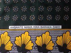 African Fabric Kanga Khanga Yellow Dark Green and White ( Kanga Urafiki). via Etsy.