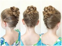3D Flower Updo For Little Girls - http://www.beautifuldiyhairstyles.com/3d-flower-updo-for-little-girls/
