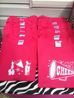 """Cheer birthday party , we made cheer shirts for all the girls coming to the party and had them change into them as they arrived . That way you will look like a team . We made the shirts the night before , it took an hour to make 17 shirts . We got the iron on cheer decal from """" Michael's"""" craft store but any craft store will have them."""