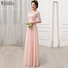 ZANZEA Fashion 2017 New Women Dress Sexy Vestidos De Festa Vintage Elegant Party Lace Maxi Long Dresses Plus Size S-5XL