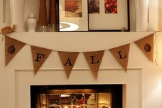 Cute Fall Banner on Fireplace