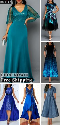 Rotita Fashion Blue Formal Casual Dress Outfits - Source by - Casual Formal Dresses, Casual Dress Outfits, Formal Dresses For Women, Classy Outfits, Pretty Outfits, Cheap Blue Dresses, Cute Dresses, African Traditional Dresses, Women's Fashion Dresses