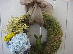 Easter Wreath    Easter Bunny Wreath   Bunny Wreath   Moss Wreath  Preserved Hydrangeas   Hand Crafted Wreath  Front Door Wreath on Etsy, $110.00