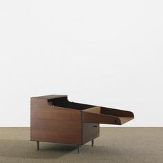 HANS WEGNER cube bar Andreas Tuck Denmark, c. 1960 teak, matte chrome-plated steel