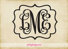 Monogram with Ornate Border Wall Decal on Etsy, $18.95