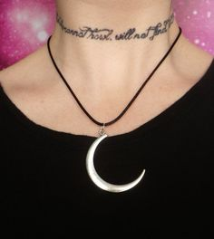 Moon child necklace on black cord by lotusfairy on Etsy, $7.99