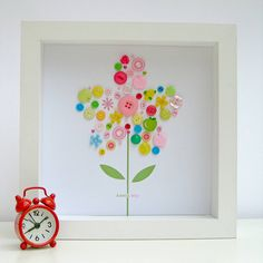 Personalised Baby Girl Button Flower Artwork from notonthehighstreet.com