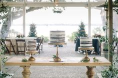 3 naked cakes at a Lowndes Grove Plantation wedding // planned and designed by Southern protocol // by Charleston wedding photographers Aaron and Jillian Photography