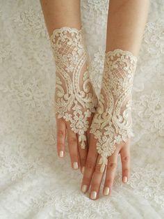 Wedding glove long glove elegant lace glove Unique by WEDDINGHome