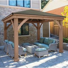 12 X 12 Wood Gazebo Heavy Duty Outdoor Metal Roof For Patio Sets Hot Tubs  Spa