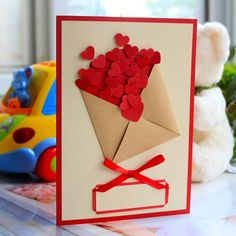 New Birthday Card Craft For Kids Valentines Ideas Diy Valentine's Day Cards For Him, Diy Cards, Toddler Valentine Crafts, Valentines For Kids, Teacher Birthday Card, Diy Birthday, Mothers Day Crafts, Handmade Birthday Cards, Birthday Gifts For Women